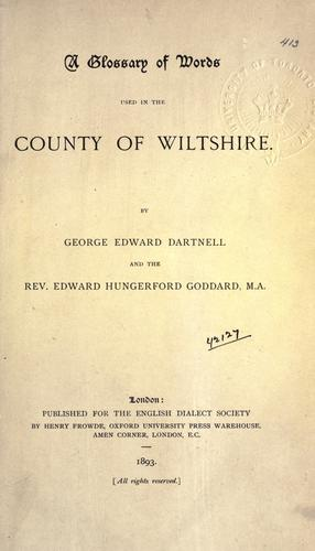Download A glossary of words used in the County of Wiltshire
