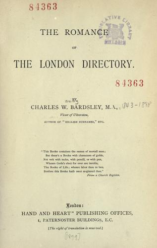 The romance of the London Directory