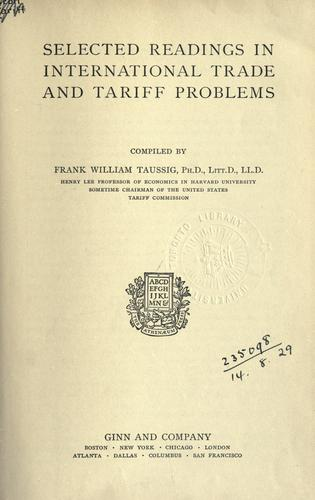 Selected readings in international trade and tariff problems.