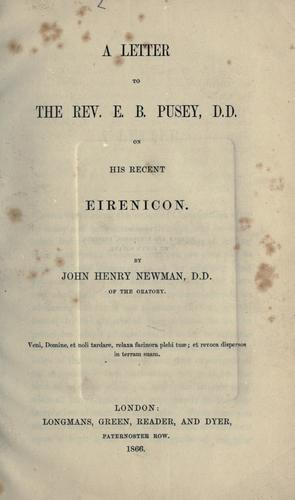 Download A letter to the Rev. E.B. Pusey, D.D. on his recent Eirenicon