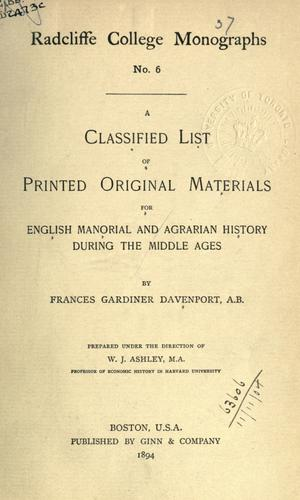 Download A classified list of printed original materials for English manorial and agrarian history during the Middle Ages.