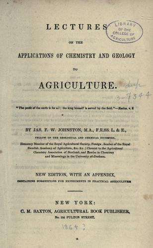 Download Lectures on the applications of chemistry and geology to agriculture