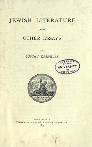 Download Jewish literature, and other essays