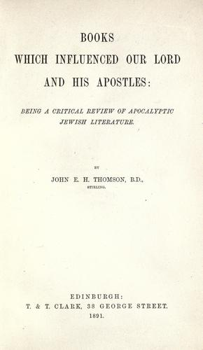 Books which influenced Our Lord and His apostles