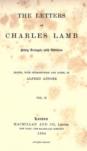 The letters of Charles and Mary Lamb.