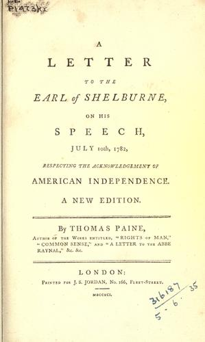 A letter to the Earl of Shelburne