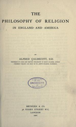 Download The philosophy of religion in England and America