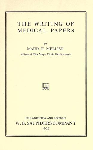 Download The writing of medical papers