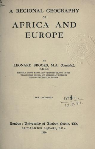 A regional geography of Africa and Europe.