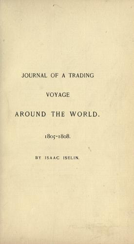 Journal of a trading voyage around the world, 1805-1808