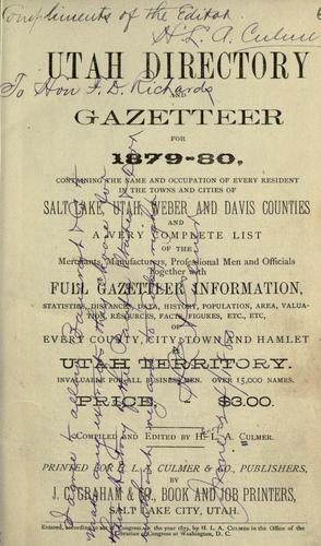 Utah directory and gazetteer for 1879-80 by H. L. A. Culmer