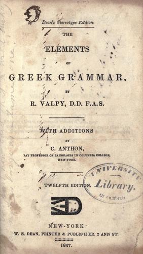 Download The elements of Greek grammar