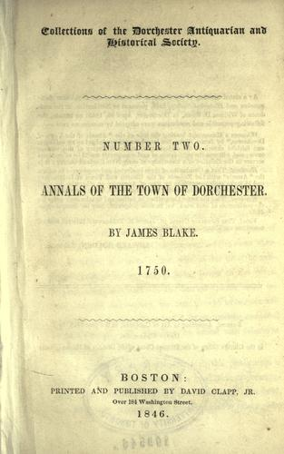 Download Annals of the town of Dorchester.