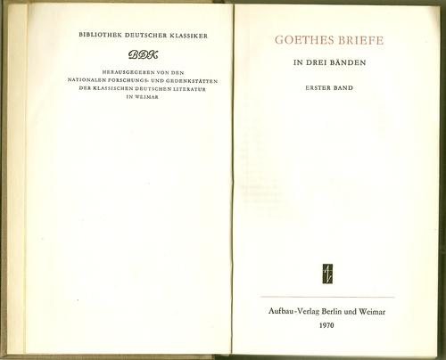Goethes Briefe.