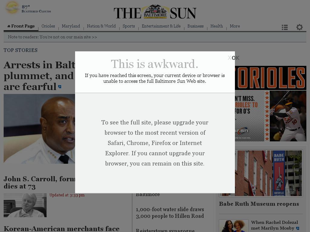 The Baltimore Sun at Sunday June 14, 2015, 5 p.m. UTC