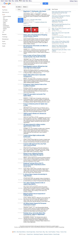 Google News: World at Sunday Jan. 24, 2016, 8:10 p.m. UTC