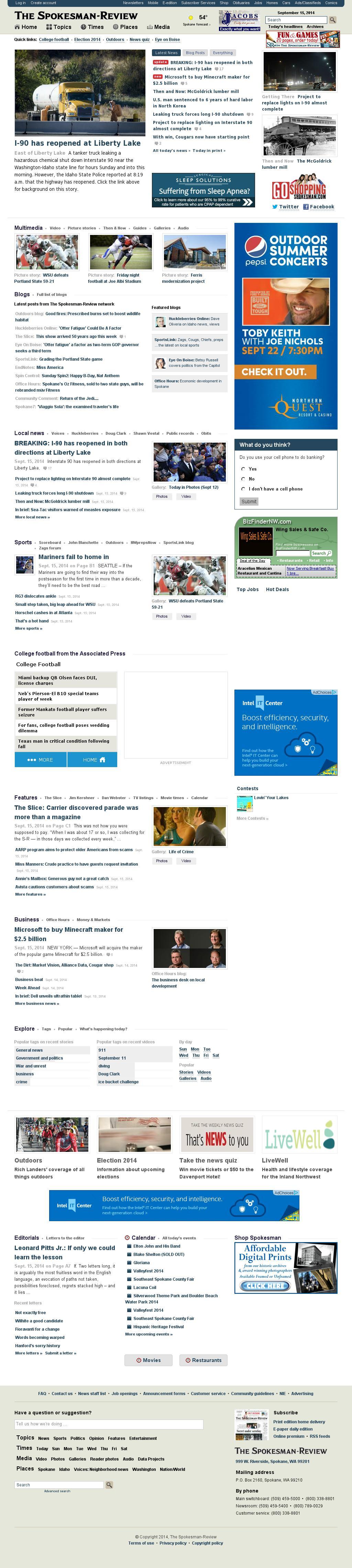 The (Spokane) Spokesman-Review at Monday Sept. 15, 2014, 4:16 p.m. UTC