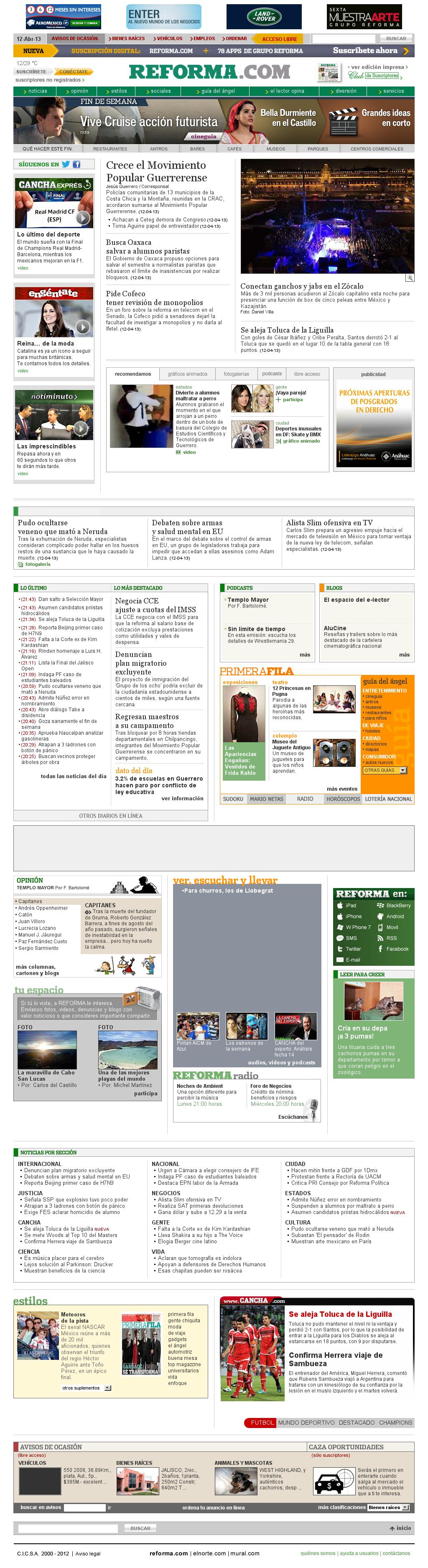 Reforma.com at Saturday April 13, 2013, 3:20 a.m. UTC
