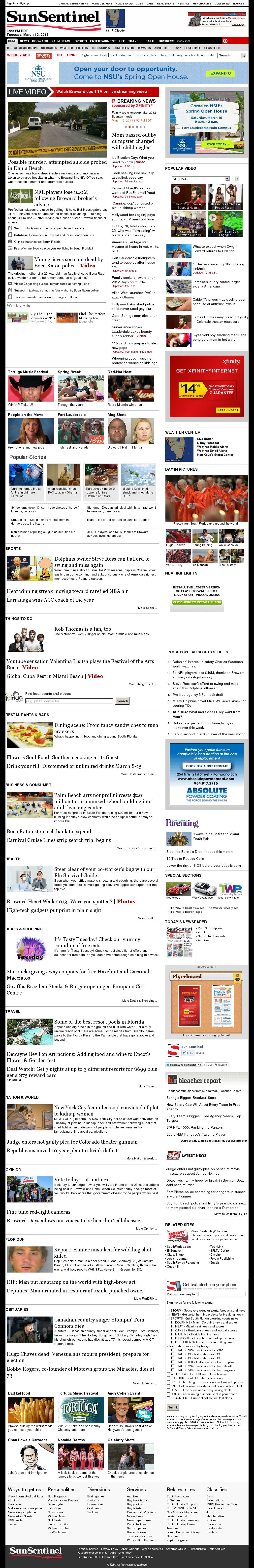(Florida) Sun Sentinel at Tuesday March 12, 2013, 7:21 p.m. UTC