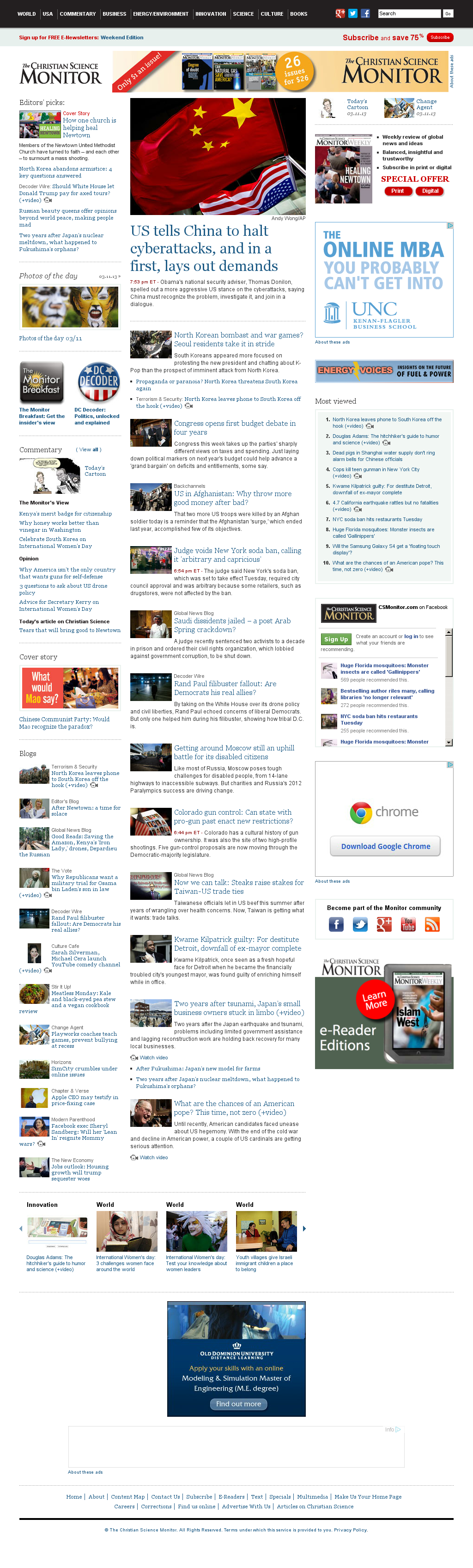 The Christian Science Monitor at Tuesday March 12, 2013, 1:03 a.m. UTC