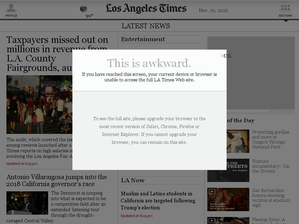 Los Angeles Times at Thursday Nov. 10, 2016, 9:08 p.m. UTC