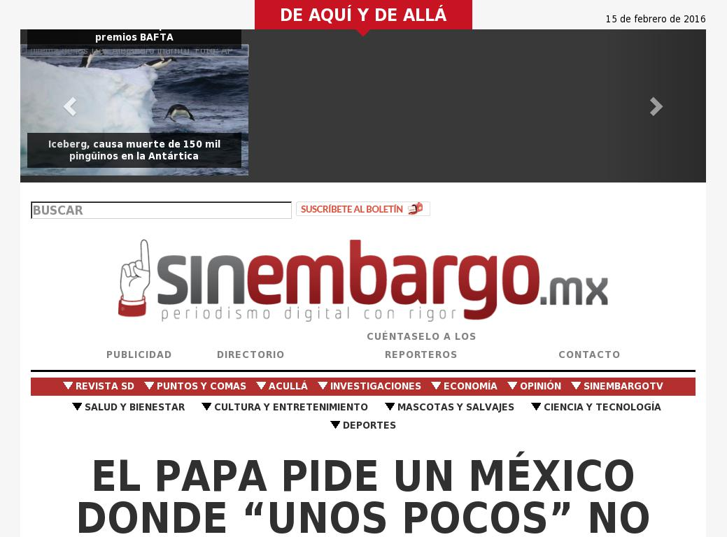 Sin Embargo at Monday Feb. 15, 2016, 1:24 p.m. UTC