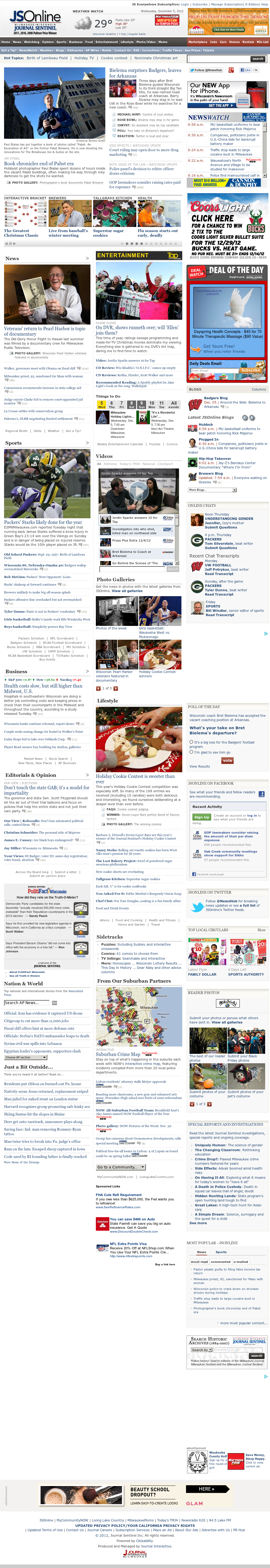 Milwaukee Journal Sentinel at Wednesday Dec. 5, 2012, 3:28 p.m. UTC