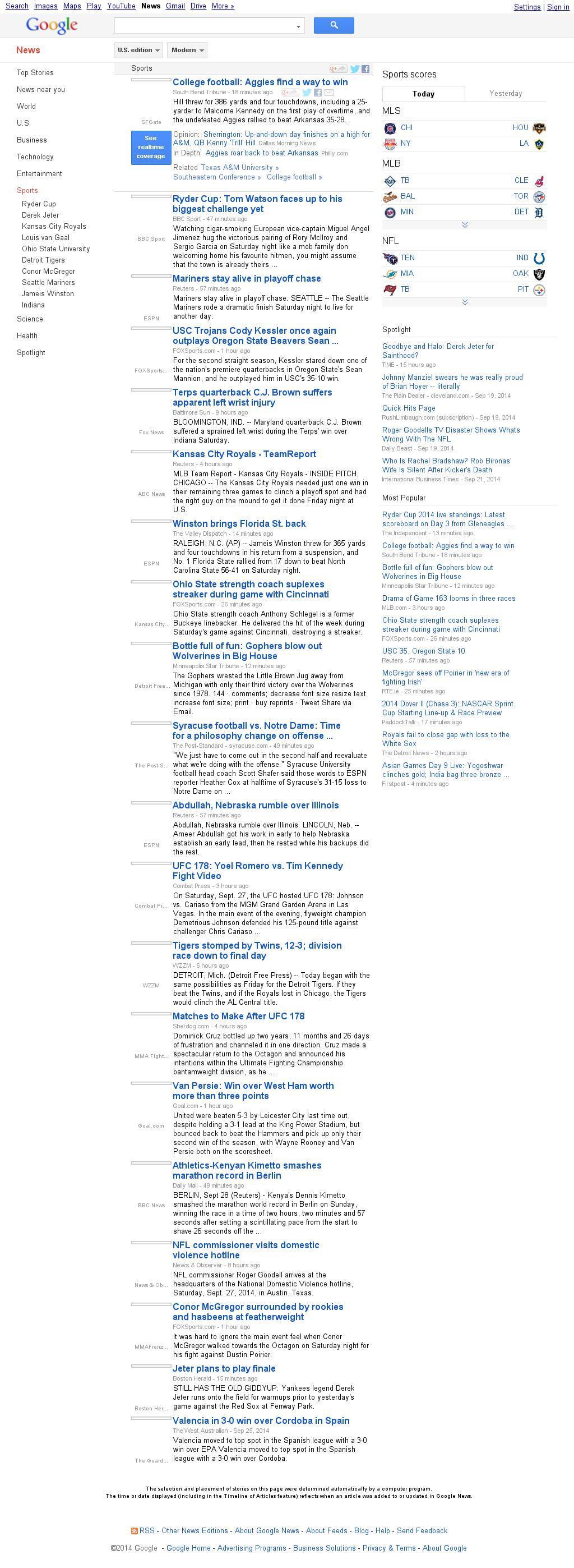 Google News: Sports at Sunday Sept. 28, 2014, 11:06 a.m. UTC