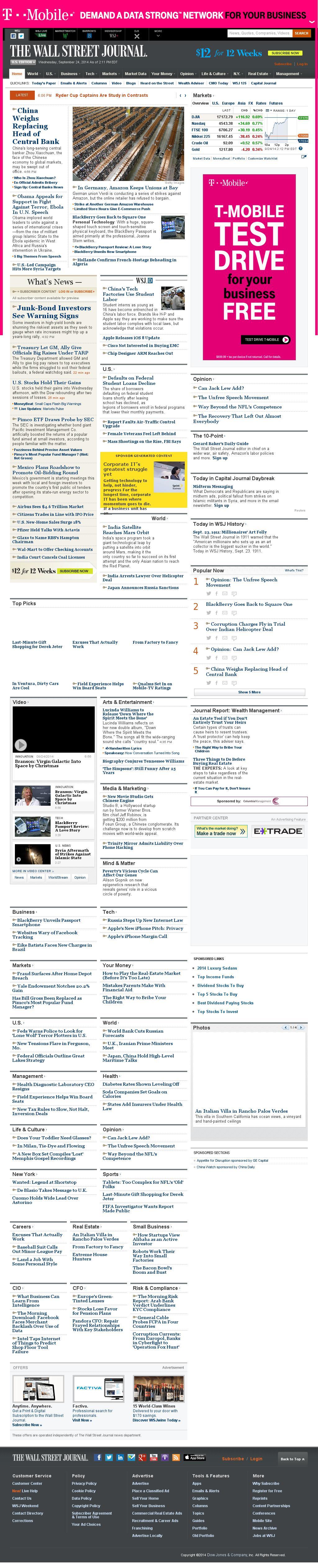 The Wall Street Journal at Wednesday Sept. 24, 2014, 6:18 p.m. UTC