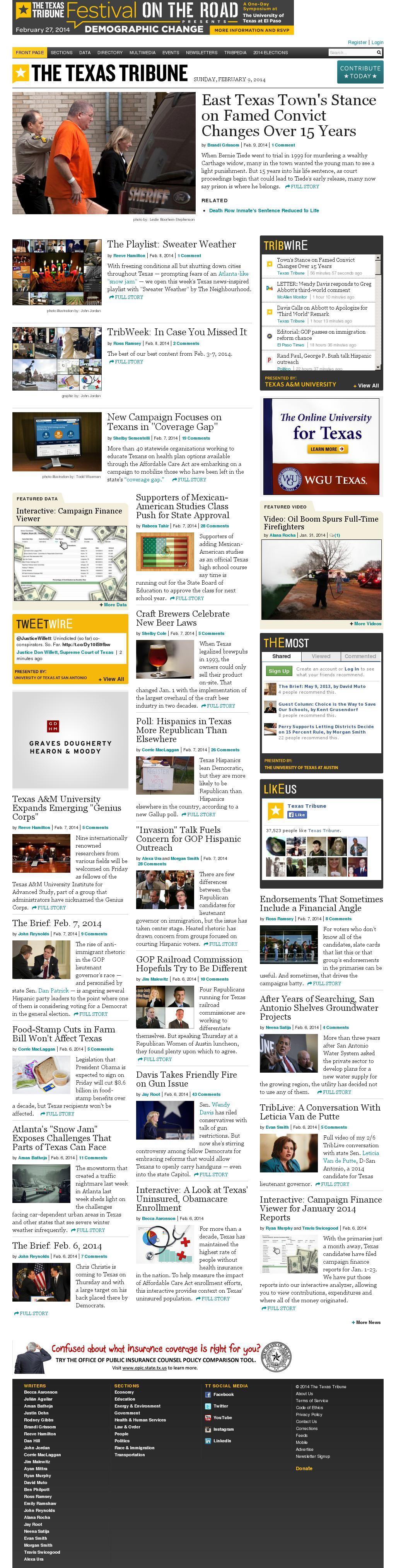 The Texas Tribune at Sunday Feb. 9, 2014, 7:19 p.m. UTC