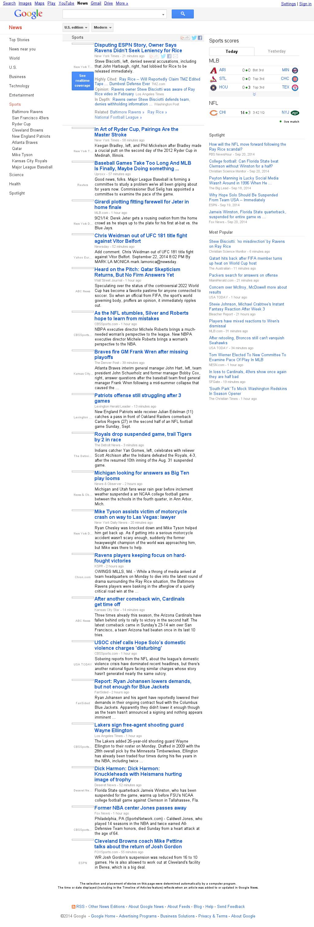 Google News: Sports at Tuesday Sept. 23, 2014, 1:08 a.m. UTC