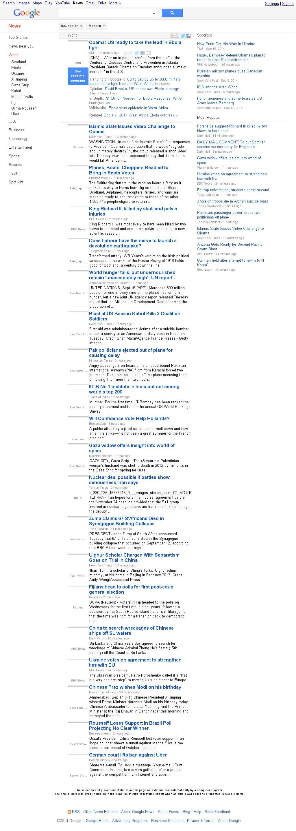 Google News: World at Wednesday Sept. 17, 2014, 7:08 a.m. UTC