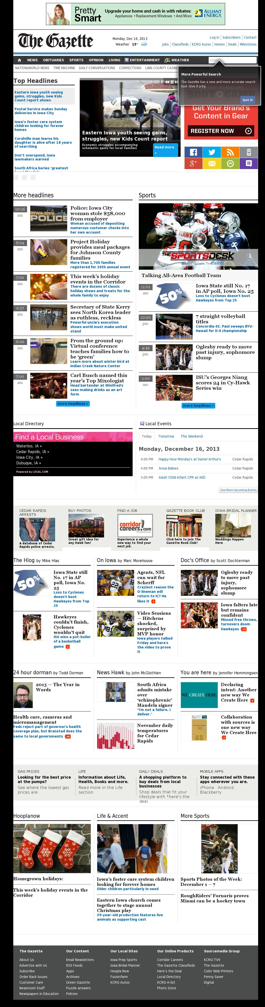 The (Cedar Rapids) Gazette at Monday Dec. 16, 2013, 6:05 p.m. UTC