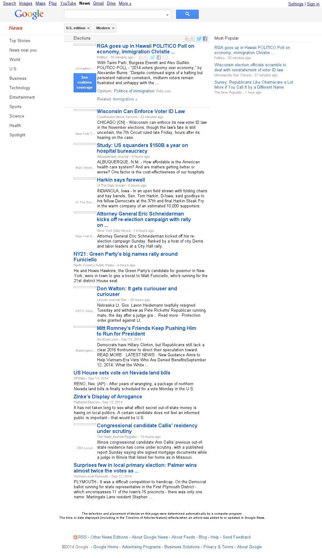 Google News: Elections at Monday Sept. 15, 2014, 3:08 p.m. UTC