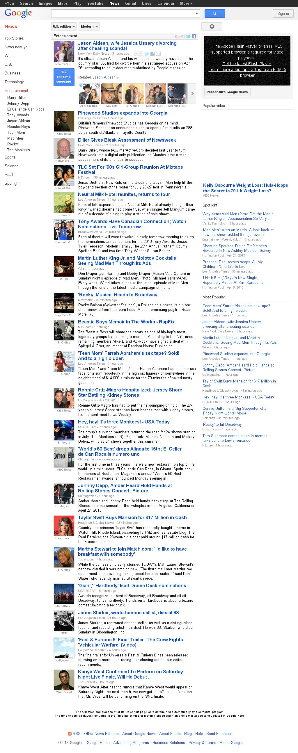 Google News: Entertainment at Monday April 29, 2013, 10:08 p.m. UTC