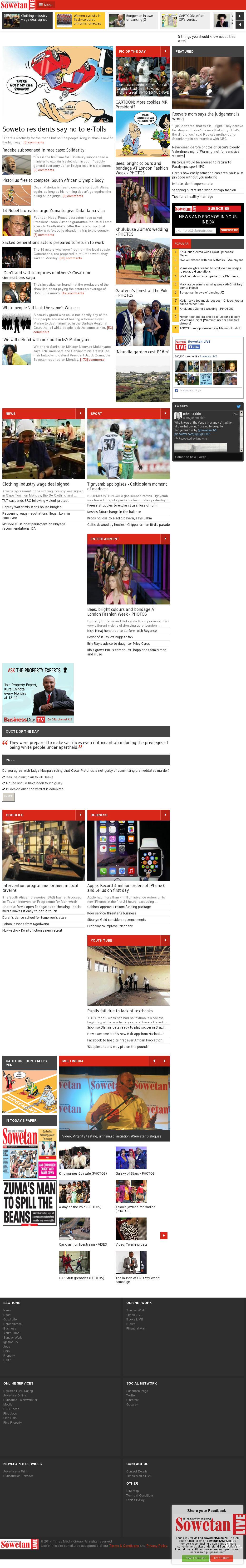 Sowetan Live at Tuesday Sept. 16, 2014, 5:16 a.m. UTC