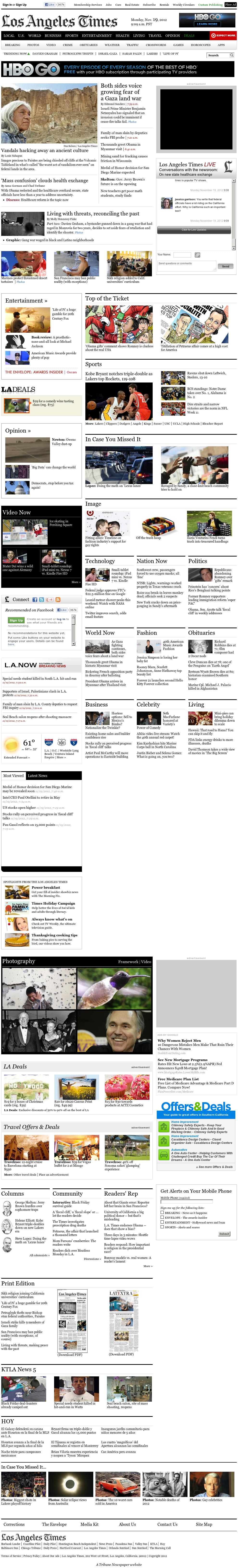 Los Angeles Times at Monday Nov. 19, 2012, 5:16 p.m. UTC
