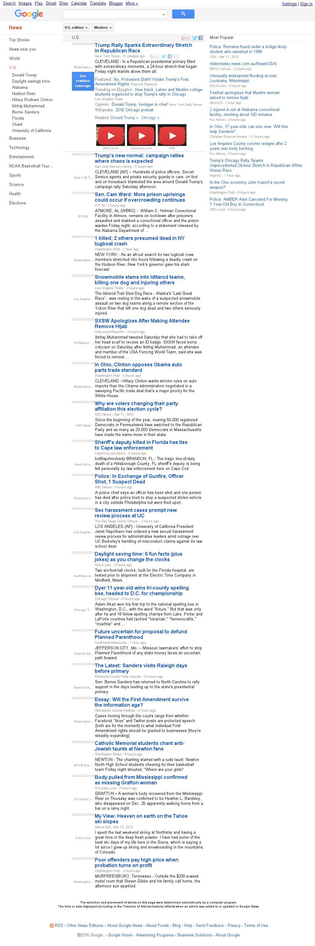 Google News: U.S. at Sunday March 13, 2016, 8:10 a.m. UTC