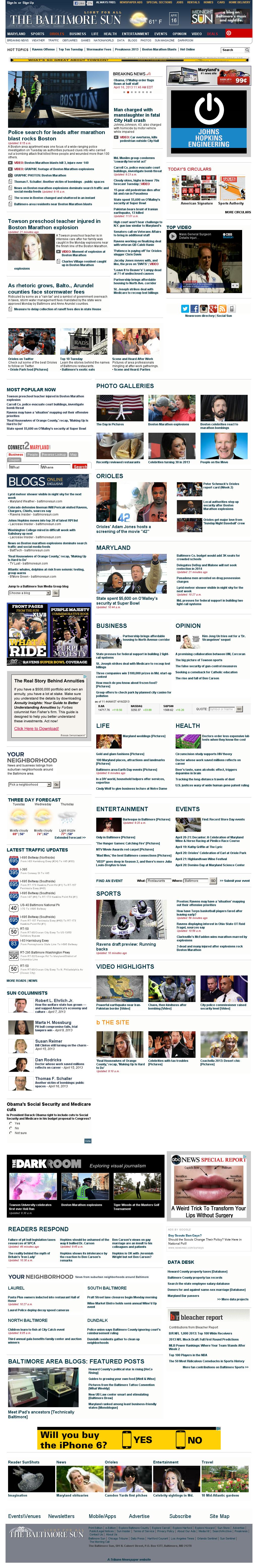 The Baltimore Sun at Tuesday April 16, 2013, 4:01 p.m. UTC