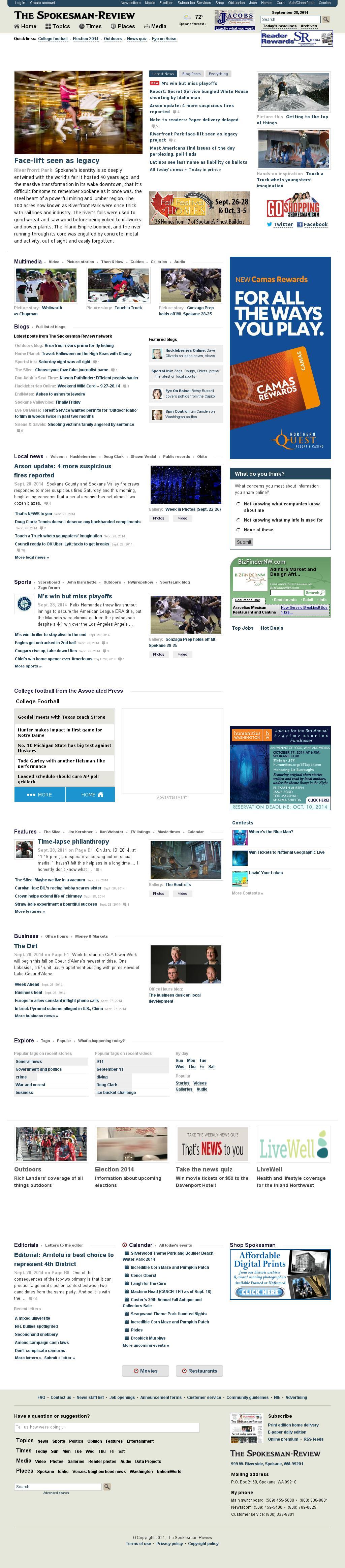 The (Spokane) Spokesman-Review at Monday Sept. 29, 2014, 1:17 a.m. UTC
