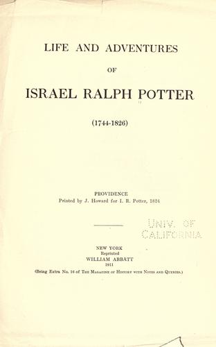 Life and adventures of Israel Ralph Potter (1744-1826) by Israel Potter