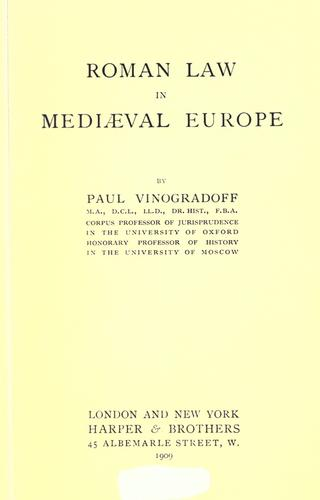 Roman law in mediaeval Europe