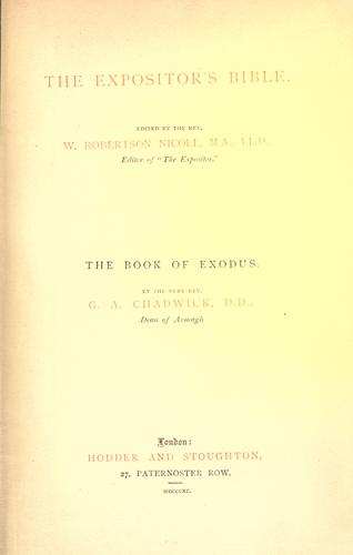 The book of Exodus by Chadwick, G. A.