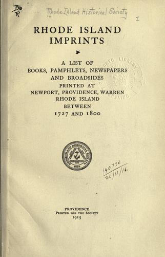 Rhode Island imprints by Rhode Island Historical Society.
