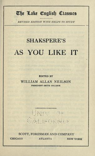 Shakspere's As you like it by William Shakespeare