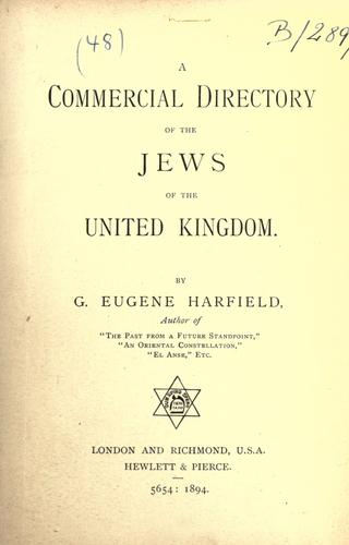 Commercial Directory of the Jews of the United Kingdom by Eugene G. Harfield