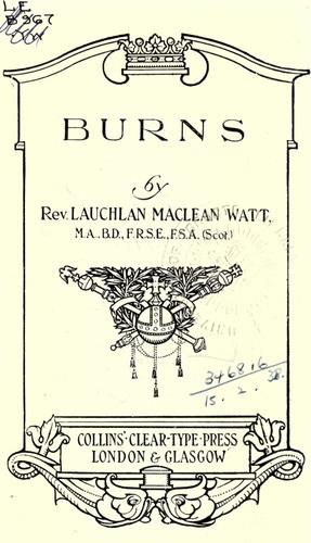 Burns by Lauchlan MacLean Watt