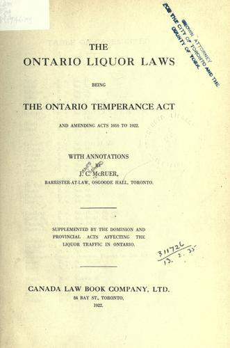 The Ontario liquor laws by J. C. McRuer