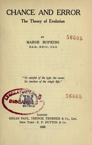 Chance and error by Marsh Hopkins