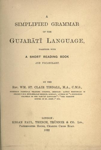 A simplified grammar of the Gujar©Æat©Æi language by Tisdall, William St. Clair